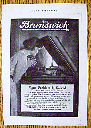 1918 Brunswick Phonograph With Woman Listening