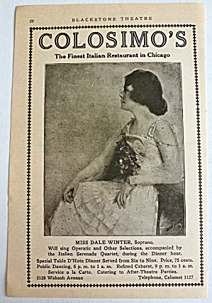 1918 Colosimo's Restaurant With Miss Dale Winter