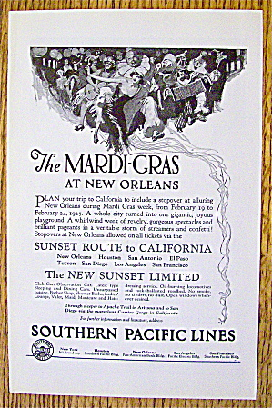 1925 Southern Pacific Lines W/mardi Gras At New Orleans
