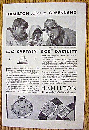 1932 Hamilton Watches With Captain Bob Bartlett