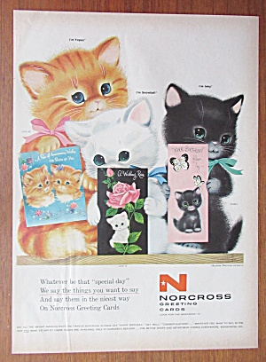 1958 Norcross Greeting Cards with Three Kitties  (Image1)