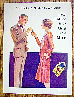 1929 Camel Cigarettes with Woman Giving Man Cigarette (Image1)