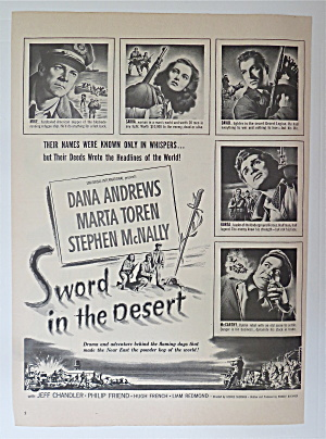 1949 Movie Ad For Sword In The Desert W/andrews & Toren