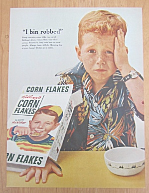 1955 Kellogg's Corn Flakes W/boy By Norman Rockwell