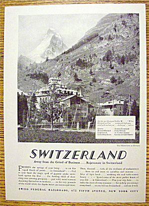 1928 Swiss Federal Railroads with Switzerland (Image1)
