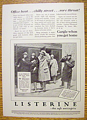 1928 Listerine With People Standing Out In The Snow