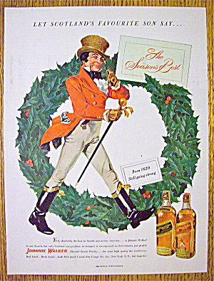 1949 Johnnie Walker Whiskey With Red Coat By Wreath