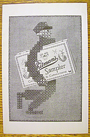 1925 Whitman's Sampler W/man Carrying Box Of Candy