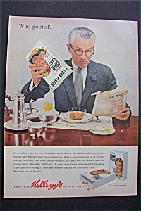 1955 Kellogg Corn Flakes W/man & Empty Box By Rockwell