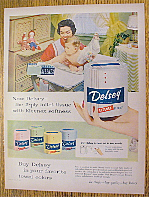 1955 Delsey Toilet Tissue With Mom And Baby