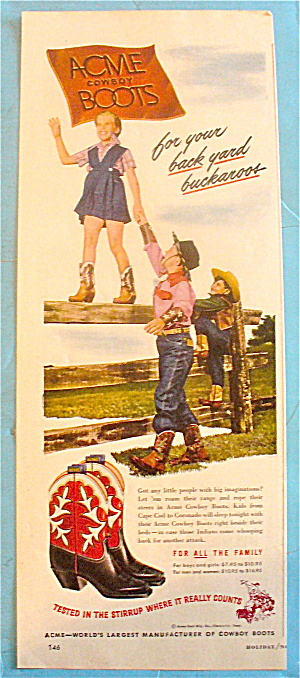 1948 Acme Boots With Girl Walking A Fence (Image1)