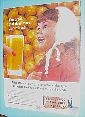 1960 Orange Juice With Little Girl Smiling