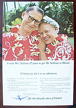 1966 United Air Lines With A Couple In Hawaii
