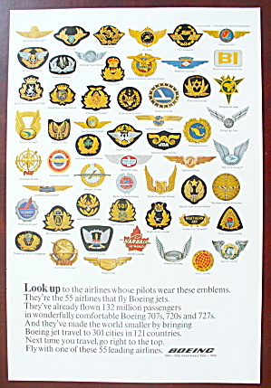 1966 Boeing Air Lines With Variety Of Emblems
