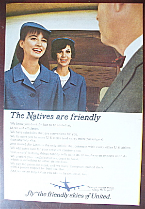 1966 United Air Lines with a Stewardess Talking to Man (Image1)