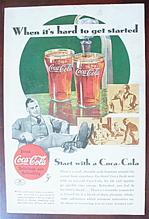 1934 Coca Cola (Coke) With Glasses On The Counter