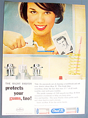 1963 Oral B Toothbrush W/ Woman Looking In Mirror