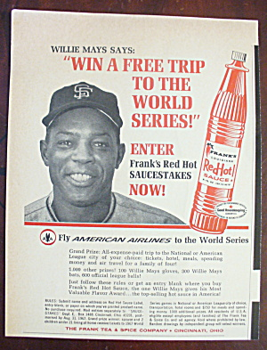 1967 Frank's Hot Sauce With Baseball's Willie Mays