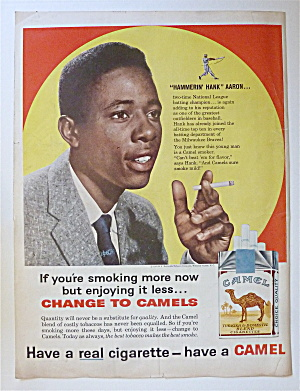 1962 Camel Cigarettes With Baseball's Hank Aaron