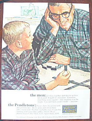 1963 Pendleton With Man And Boy Playing Dominos