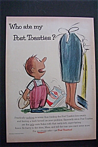 1955 Post Toasties Cereal With Little Boy Holding Box