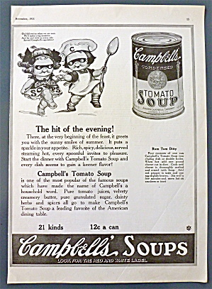1921 Campbell's Tomato Soup W/campbell Kids In Masks