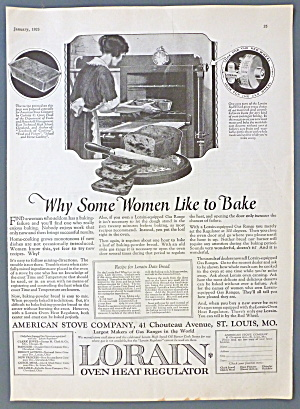 1923 Lorain Oven Heat Regulator W/ Woman Baking