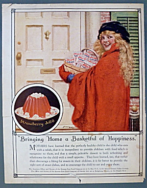 1923 Jell-o W/ Girl Holding A Basketful Of Jello Boxes