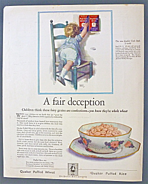 1925 Quaker Puffed Rice Cereal /w Child Climbing Chair