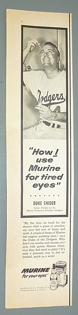 1956 Murine For Your Eyes W/baseball's Duke Snider