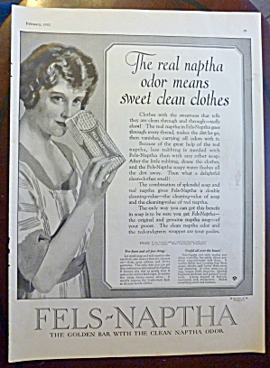 1922 Fels Naptha Soap With Woman Smelling Soap