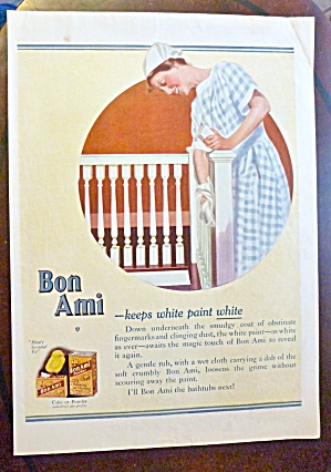 1921 Bon Ami With Woman Cleaning Railing