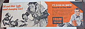 1956 Fram Filters With Mother Monkey Changing Diapers