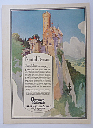 1926 German Railroads with Lovely Castle On Hill (Image1)