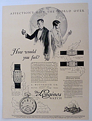 1926 Longines Watch With Man & Woman Looking At Watches