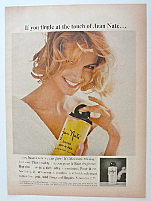 1966 Jean Nate Bath Lotion With Woman Holding Bottle