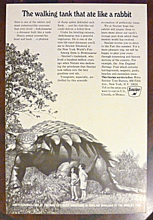 1965 Sinclair With Children Looking At A Dinosaur