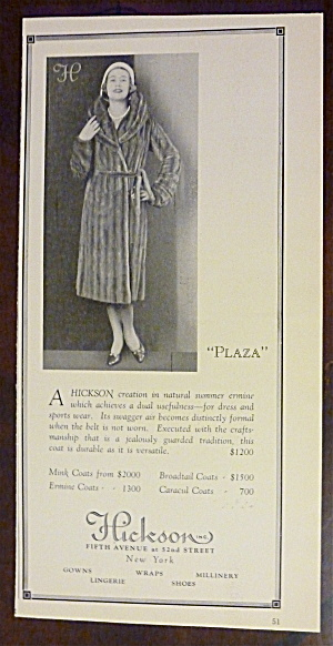 1930 Hickson With Woman Wearing A Plaza Fur Coat