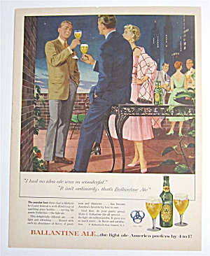1954 Ballantine Ale With Two Men & Woman Talking