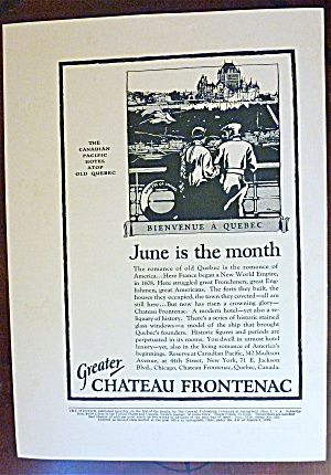 1924 Greater Chateau Frontenac with Bienvenue A Quebec (Image1)