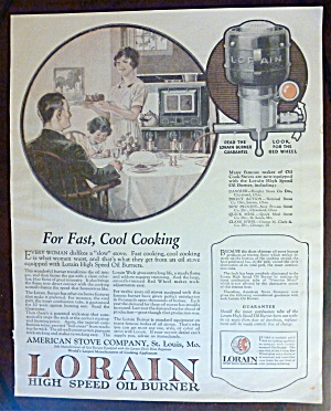 1924 Lorain High Speed Oil Burner w Woman Serving Meal  (Image1)