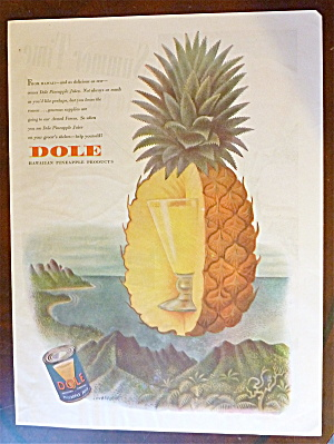 1944 Dole Pineapple W/pineapple With Glass Of Juice