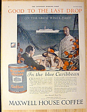 1924 Maxwell House Coffee W/ Couple Dining On Caribbean