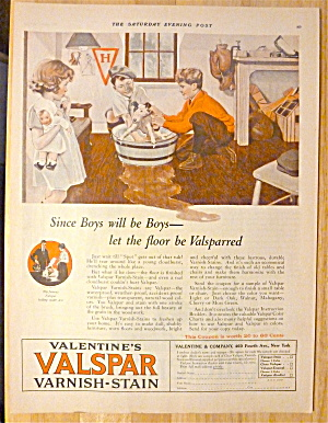 1924 Valentine's Valspar Varnish-stain W/kids & Dog