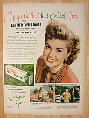 1947 Warrens Mint Cocktail Gum W/esther Williams