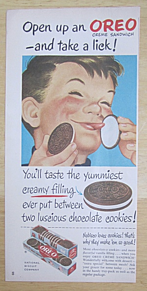 1950 Nabisco Oreo Creme Sandwich Cookie w/Boy Smiling  (Image1)