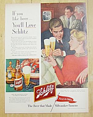 1953 Schiitz Beer with Man & Woman Talking with Beer (Image1)