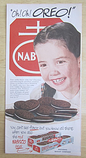 1951 Nabisco Oreo Creme Sandwich Cookie w/Girl Smiling  (Image1)