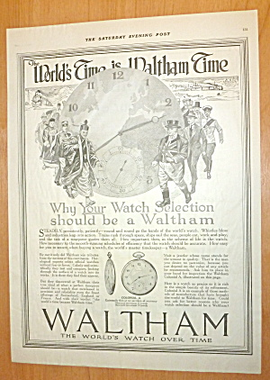 1918 Waltham Watch With World's Time Is Waltham