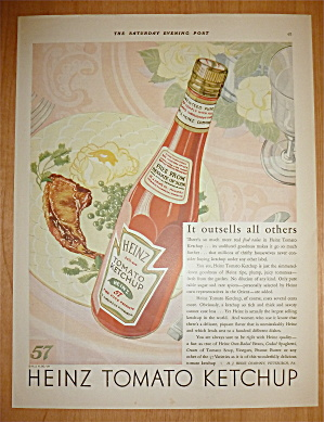 1929 Heinz Tomato Ketchup With Jar Of Ketchup
